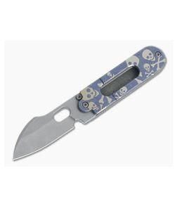 Serge Knife Co. Mid-Tech Bean Harpoon Acid Washed Nitro-V Blue Crossbones Slip Joint Top Flipper 001