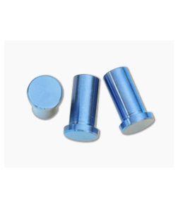 "Hinderer Knives XM-18 3.5"" Titanium Handle Nut Set of 3 Blue"