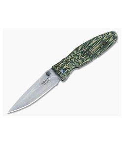 MCusta Rikyu Damascus Folder Green Micarta
