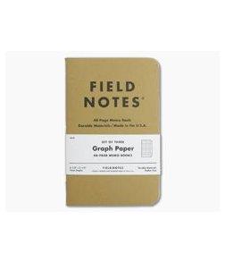 Field Notes Original Kraft Graph Paper Memo Notebook 3 Pack