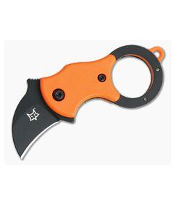 Fox Knives Mini-Ka Black Liner Lock Key Ring Karambit Orange FRN 01FX330