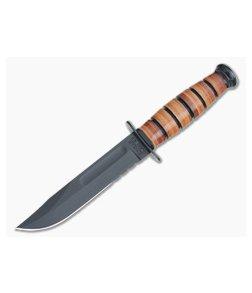 Kabar USMC Short Serrated Knife Leather Handle 1252