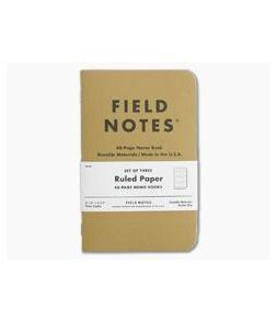 Field Notes Original Kraft Ruled Paper Memo Notebook 3 Pack