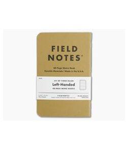 Field Notes Original Kraft Ruled Paper Left-Handed Memo Notebook 3 Pack