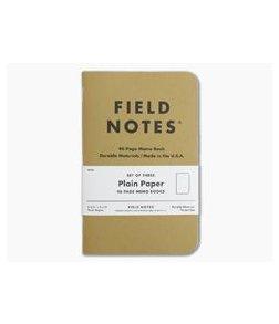 Field Notes Original Kraft Plain Paper Memo Notebook 3 Pack