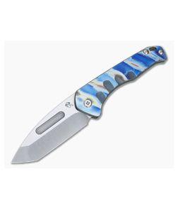 Medford Praetorian Slim Tanto Tumbled S35VN Flamed Blue Titanium Folder