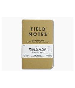 Field Notes Original Kraft Mixed Set Memo Notebook 3 Pack