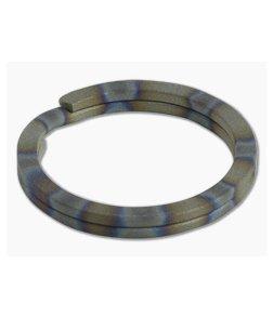 Ti Survival Titanium Split Ring Sandblasted Flame Anodized Rings Key Ring