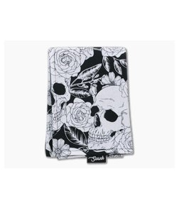 SwankHanks Black and White Skulls and Roses Cotton and Microsuede Hank