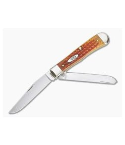 Case Trapper Pocket Worn Harvest Orange Corn Cob Jig Bone 07401