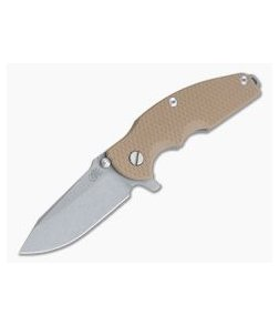 Hinderer Knives Jurassic Working Finish S35VN Spear Point Coyote Tan G10 Tri-Way Pivot Flipper 0848