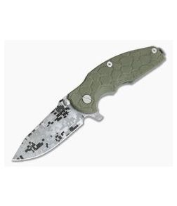 Hinderer Knives Jurassic Digital Camo Working Finish S35VN Spear Point Scaled OD Green G10 Tri-Way Pivot Flipper 0850