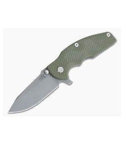 Hinderer Knives Jurassic Working Finish S35VN Spear Point OD Green G10 Tri-Way Pivot Flipper 0856
