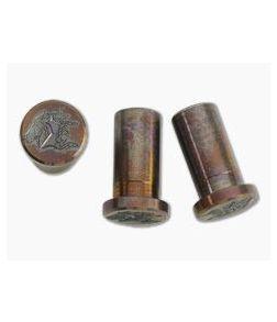 "Hinderer Knives XM-18 3"" Handle Nuts Stonewashed Bronze Horse Head 3 Set 0919"
