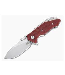 Hinderer Knives Half Track Slicer Stonewashed 20CV Red G10 Tri-Way Flipper