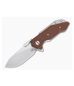 Hinderer Knives Half Track Slicer Stonewashed 20CV Orange/Black G10 Tri-Way Flipper