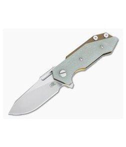 Hinderer Knives Half Track Slicer 20CV Stonewashed Bronze Jade Green G10 Tri-Way Flipper