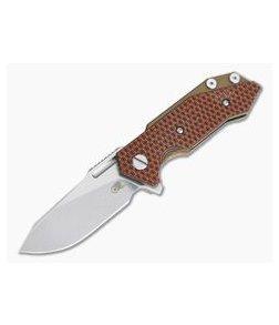 Hinderer Knives Half Track Slicer 20CV Stonewashed Bronze Orange/Black G10 Tri-Way Flipper