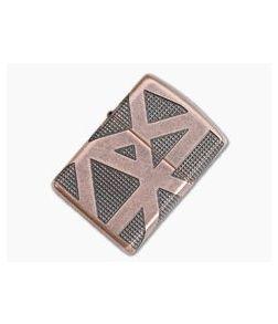 Zippo Windproof Lighter Geometric Antique Copper MultiCut Engraved Armor Case 49036