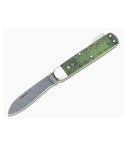 Boker Solingen Hunter's Knife Mono Damascus Green Curly Birch Lock Back Folder 118030DAM