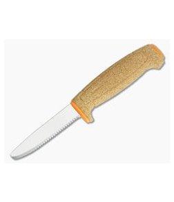 Mora of Sweden Orange Floating Cork Serrated Blunt Tip Fixed Knife 13131