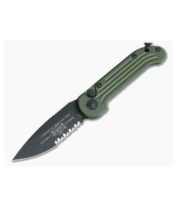 Microtech LUDT Black CTS-204P Partially Serrated OD Green Automatic Knife 135-2OD