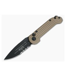 Microtech LUDT Tan Part Serrated Automatic Knife 135-2TA