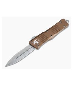 Microtech Combat Troodon Tan Stonewashed Full Serrated Double Edge Automatic 142-12TA