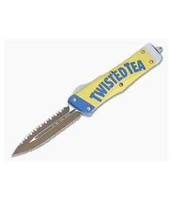 Microtech Combat Troodon D/E Twisted Tea Edition Double Reverse Full Serrated OTF Automatic Knife 142-DR3TT