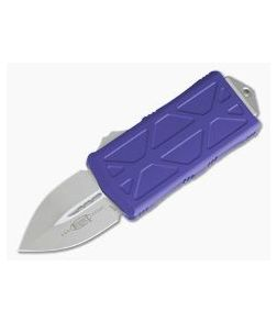 Microtech Exocet Purple Handle Stonewashed Plain Double Edge CA Legal OTF Auto 157-10PU