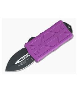 Microtech Exocet Violet Handle Black Plain Double Edge CA Legal OTF Auto 157-1VI