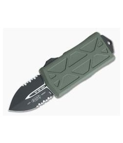 Microtech Exocet Black Partially Serrated 204P Double Edge OD Green CA Legal OTF Automatic 157-2OD