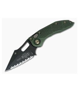 Microtech Stitch Full Serrated Black DLC M390 OD Green Automatic Knife 169-3DLCOD