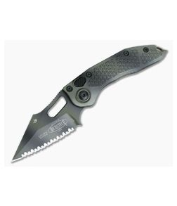 Microtech Stitch Full Serrated Green Camo M390 Automatic Knife 169-3GC