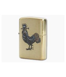 Zippo Windproof Lighter Brushed Brass 78099 Steampunk Rooster
