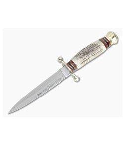 Linder Knives Solingen Dagger Stag Handle Fixed Blade 210013