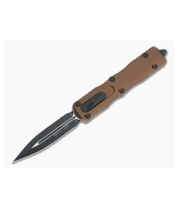 Microtech Dirac Tan Double Edge Black 204P Top Slide OTF Automatic Knife 225-1TA