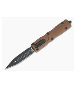 Microtech Dirac Tan Double Edge Black M390 Top Slide OTF Automatic Knife 225-1TA