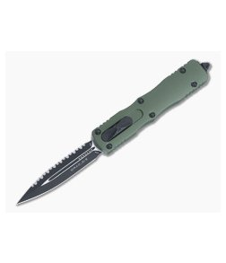 Microtech Dirac OD Green Double Edge Black Full Serrated M390 Top Slide OTF Automatic Knife 225-3OD