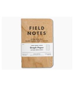 Field Notes Cherry Wood Graph Paper 48-Page Notebook 3 Pack