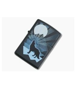 Zippo Lighter Matte Black Wolf and Moon Design