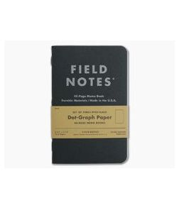 Field Notes Pitch Black Dot-Graph Paper Memo Notebook 3 Pack