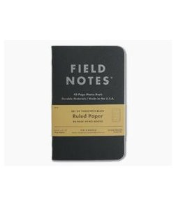 Field Notes Pitch Black Ruled Paper Memo Notebook 3 Pack