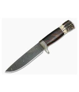 Burr Oak Custom Camp Knife Bold Twist Damascus Ironwood and Stag