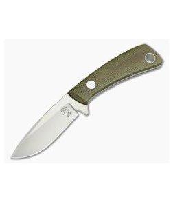 Tom Krein Custom TK-4 Drop Point Hunter Green Micarta Satin D2 Fixed Blade