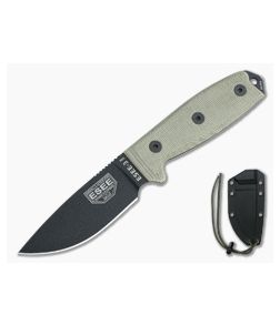 ESEE 3MIL Black Plain Blade Canvas Micarta Black Sheath with MOLLE Back