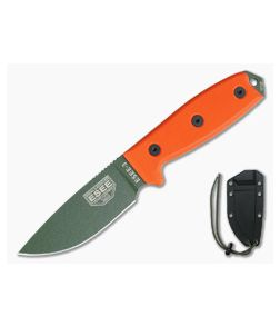 ESEE 3 Plain Edge OD Blade Orange G10 Black Sheath