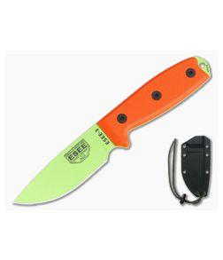 ESEE 3 Venom Green Blade Orange G10 Black Sheath