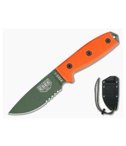 ESEE 3 Part Serrated Orange G10 & OD Coated