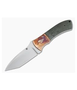 Aaron Frederick Custom Fixed Blade Tanto Copper Bolster Green Micarta 4055